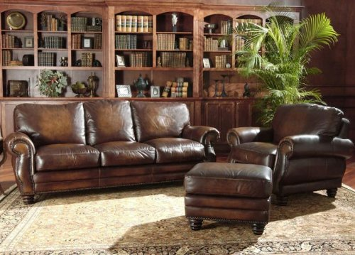 (Avellino 100% Full Aniline Italian Leather Sofa Group(Artisano Highlight Cognac))