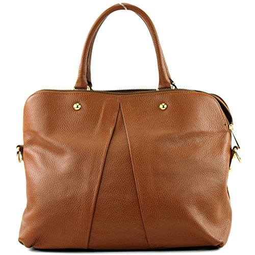 sac femme à en cuir cuir Italy pour Made Dunkelcamel Sac sac modamoda italien T39 main sac de véritable in sac 8pxz0