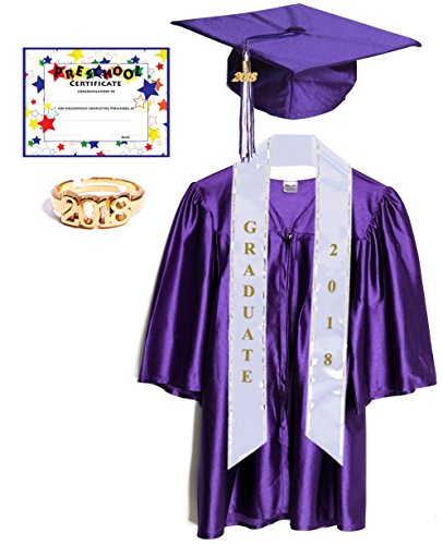 Budget Graduation Purple Shiny Deluxe Preschool Cap And Gown