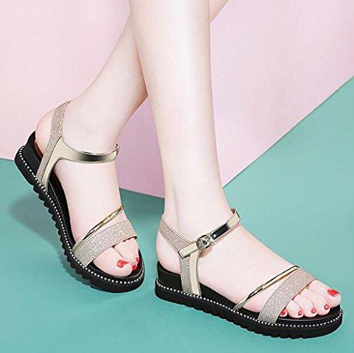 Korean shoes Color Size sandals B Roman Sandals A students summer flat 39 Fashion Flat sandals sandals simple wwABIq06