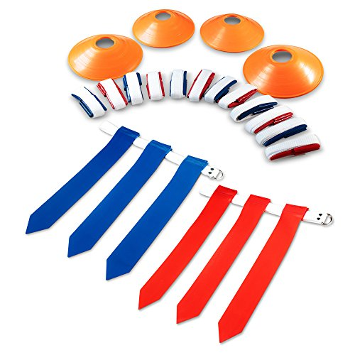 (Stumptown Sportz 14 Player Flag Football Set with 3 Flags per Belt - Includes 12 Field Cones and Mesh Bag - Premium 68 Piece Heavy Duty)