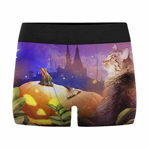 INTERESTPRINT Men's Boxer Briefs Halloween Pumpkin with Cat in Midnight -