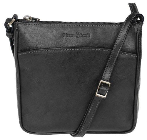 Gianni Conti Damenhandtasche Leder Borsa Pelle 17x18x4cm (schwarz)