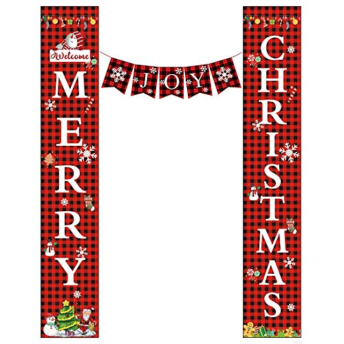 WISREMT Christmas Porch Sign, Happy New Years/Welcome Merry Christmas & Joy Holiday Decorative Banner, Indoor Outdoor Xmas Decor Black Red Plaid Hanging Banners Sign for Home Party Supplies