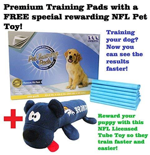 (Premium Training Pads with Free Training Dog Reward, NFL Denver Broncos Pet Tube Toy. Best Dog Puppy Pads Bundle with Licensed Dog Toy)