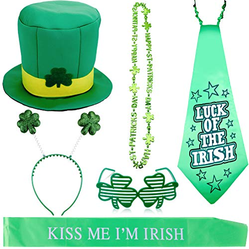 Zhanmai 6 Pieces St. Patrick's Day Costume Accessory Includes Leprechaun Hat Shamrock Necklace Glasses Props Headboppers Ties and Strap for Party]()