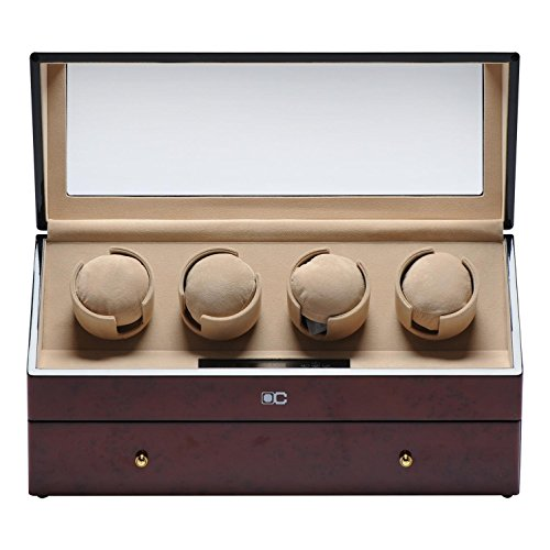 KAIHE-BOX Classic Watch Winders for 4+6 Watches for automatic Watch Winder Rotator Case Cover Storage (2 color,ww-02131) , red by KAIHE-BOX (Image #5)