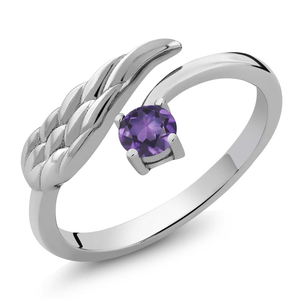0.24 Ct Round Purple Amethyst 925 Sterling Silver Wing Ring (Size 8)