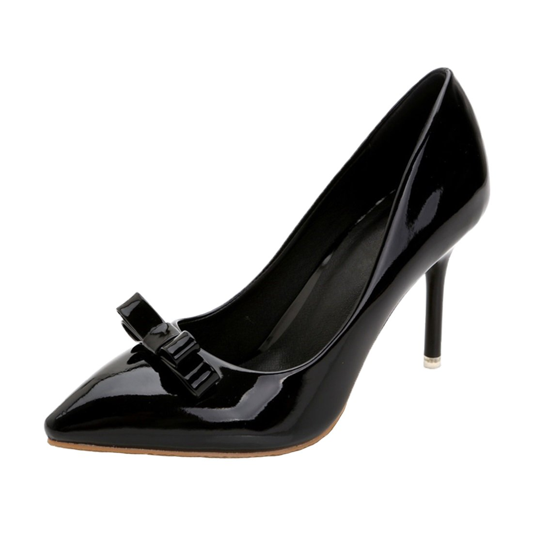 HooH Damen Lackleder Lackleder Lackleder Pointed Toe Bowknot Stiletto Abendschuhe Pumps Schwarz 96fed6