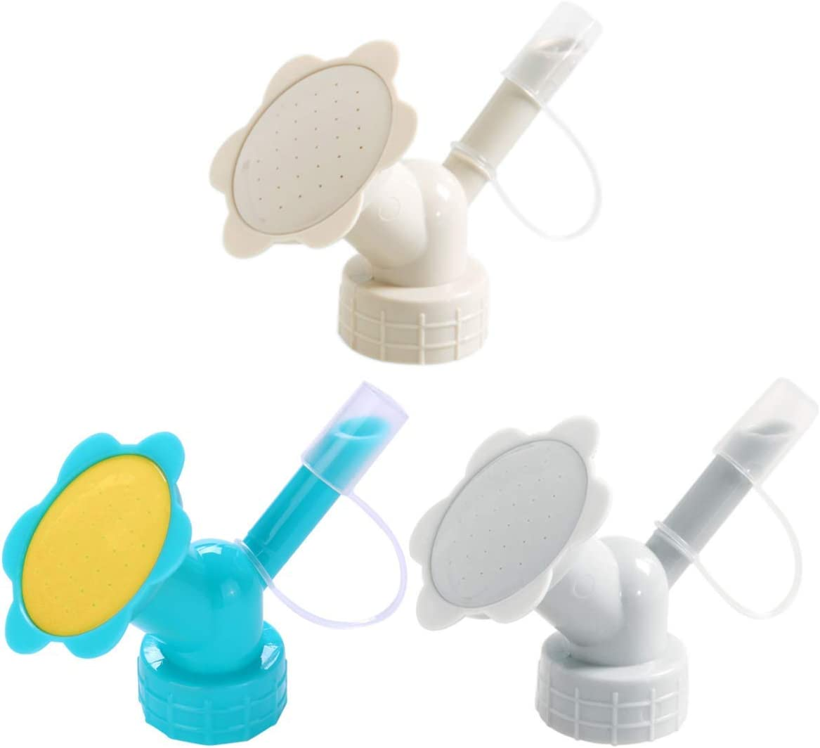 LuFOX 3Pcs Plastic Dual Head Bottle Cap Sprinkler, Bottle Watering Spout Bonsai Watering Can for Indoor Seedlings Plant, Garden Tool