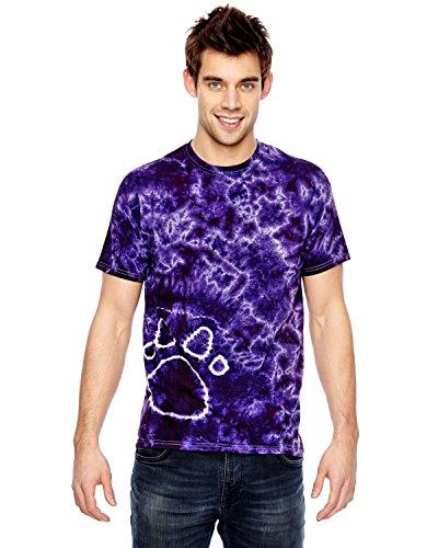 Tie Dye 1170 Adult Paw Print Tee, Purple, Medium