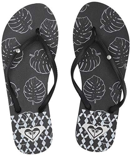 Roxy Women's Bermuda Sandal Flip Flop, Black/White, 7 ()