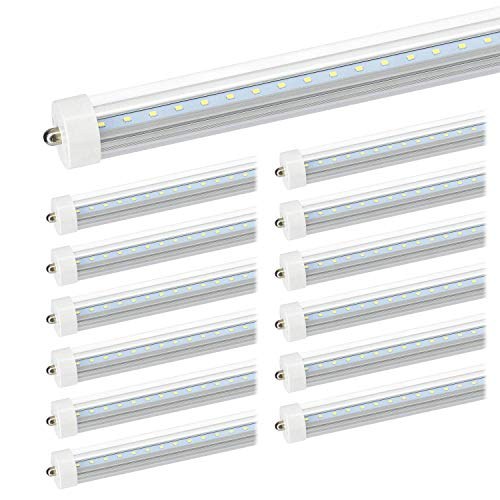 JESLED LED Light Tube 8ft - 5000K Daylight, 36W(75W Equivalent), Clear Cover, Dual-End Powered, Ballast Bypass, 3960Lumens, Single Pin Fa8 Base T8/T10/T12 Fluorescent Replacement(12-Pack)