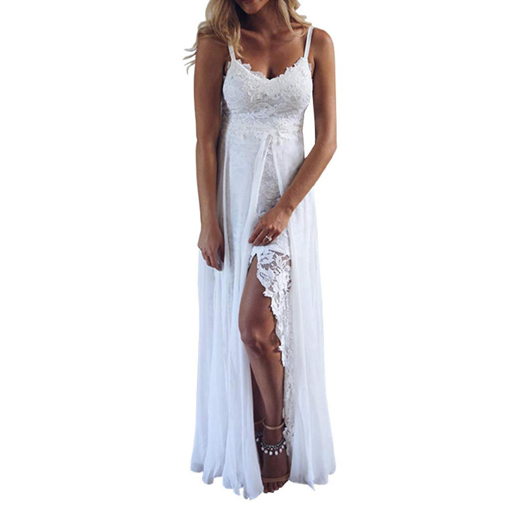 Bokeley Womens Sling V-Neck Long Dress,Ladies Sexy Lace Splitting Irregular Sundress Beach Party Wedding Dress (M, White)