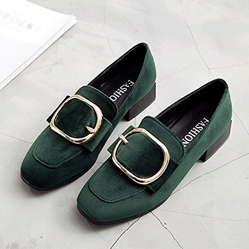 On Fashion Green Casual T for Square Penny Buckle Women Shoes Toe Loafers Metal JULY Heel Slip Low Suede 1w0nqwzfR
