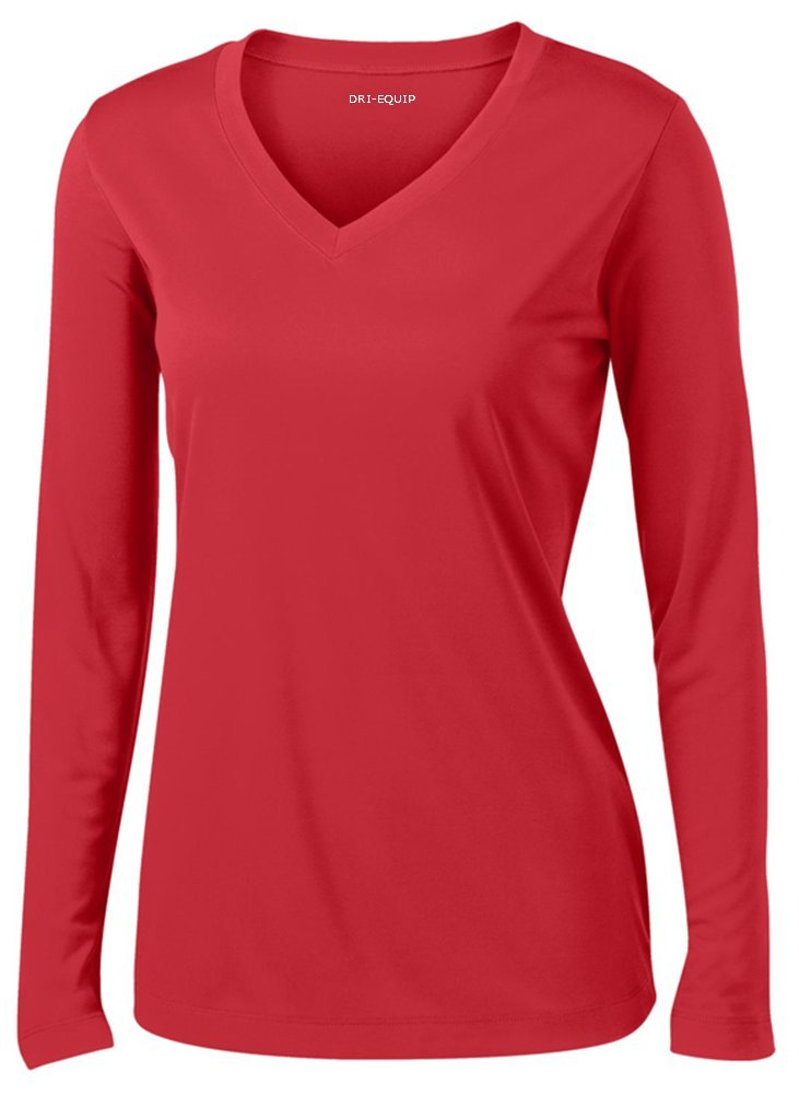 DRI-EQUIP(tm) - Ladies Long Sleeve Moisture Wicking Athletic Shirts, Red 2X-Large