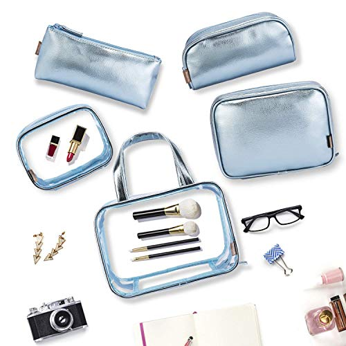 School Blue amp; Quart Case Gold Bag 1 Bag Makeup Rose Bookbag Shoulder Organiser Transparent Casual Clear Luggage Cosmetic Portable Backpack Rucksack Backpack Travel 6 Toiletry Outdoor Daypack with in PVC q0COxO