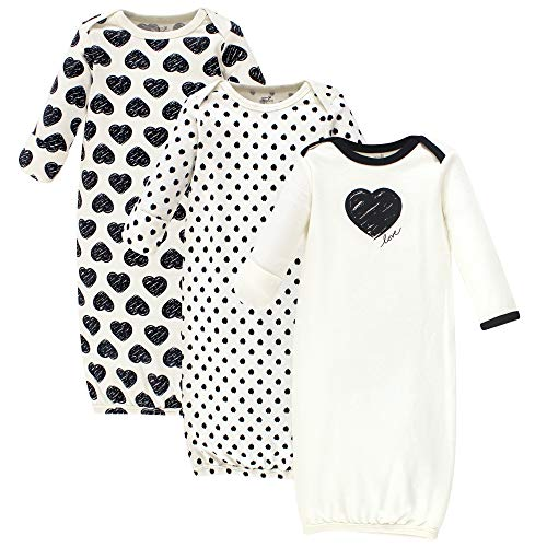 (Touched by Nature Baby Organic Cotton Gowns, Heart 3-Pack, 0-6)