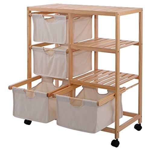 RX-789 2 Section Wood Hamper Storage Shelf Unit 4 Fabric Drawers Basket Wheels Sturdy