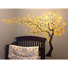 Pop Decors PT-0182-2-V1 Cherry Blossom Tree 83-Inch Height Flowers Go Left, Dark Brown and Two Yellows Beautiful Wall Decals Wallpaper Murals Stickers Nursery Decor