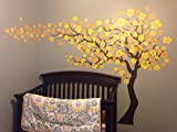 Pop Decors ''Dark Brown/Yellow Go Left Cherry Blossom Tree Flowers'' Beautiful Wall Stickers for Kids Rooms