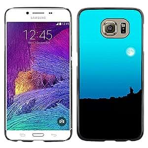 Los cielos Lunas Pale - Metal de aluminio y de plástico duro Caja del teléfono - Negro - Samsung Galaxy S6