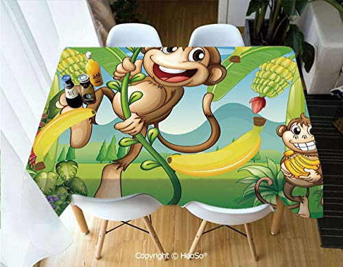 HooSo Fabric Rectangular Table Cloth, Washable Table Cover Perfect for Christmas, Thanks Giving, Dinner Parties, BBQ and Everyday Use,Nursery,Two Monkeys Near The Banana Plant Tropical,53