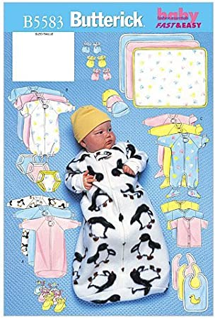 Butterick 3145 Sewing Pattern Features Nine Different Infant Hats and Romper UNCUT Size L XL