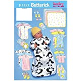 BUTTERICK PATTERNS B5583 Infants' Bunting, Jumpsuit, Shirt, Diaper Cover, Blanket, Hat, Bib, Mittens and Booties, Size LRG (L