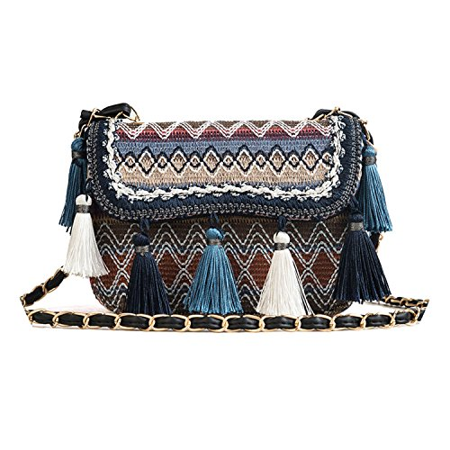 version bags Korean single handbags Blue 2018 shoulder creative tassel qZAWW7n