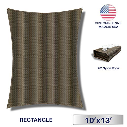 Windscreen4less Sun Shade Sail Brown 10 x 13 Rectangle Patio Permeable Fabric UV Block Perfect for Outdoor Patio Backyard – Customize Available