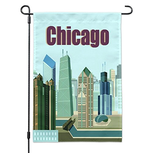 icago Hancock Building Willis Tower Cloud Gate Bean Garden Yard Flag with Pole Stand Holder ()