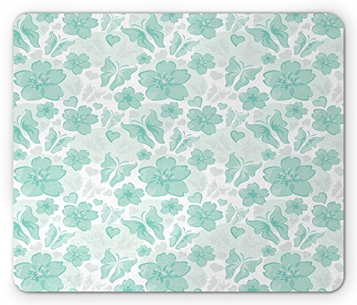 Ambesonne Turquoise Mouse Pad, Flowers Butterflies Leaves Pattern Springtime Romantic Design Nature, Standard Size Rectangle Non-Slip Rubber Mousepad, Turquoise Seafoam Pearl ()