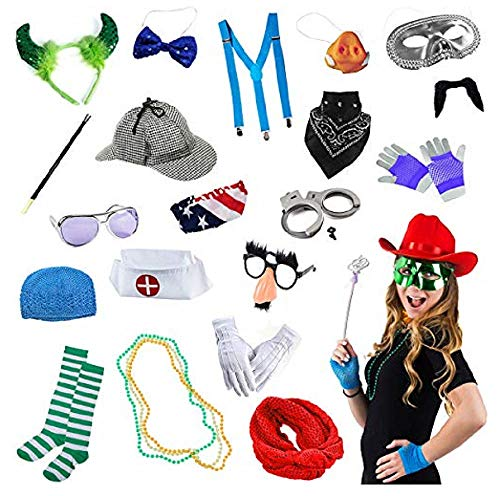 Tigerdoe Photo Booth Props - Photo Booth Parties - 14 Assorted Dress Up Costume Accessories