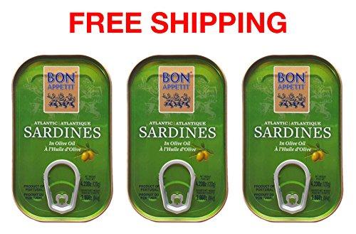 Sardines in olive Oil Omega-3, 3 tins x 120 g, Bon Appetit/Portugal by Bon Appetit