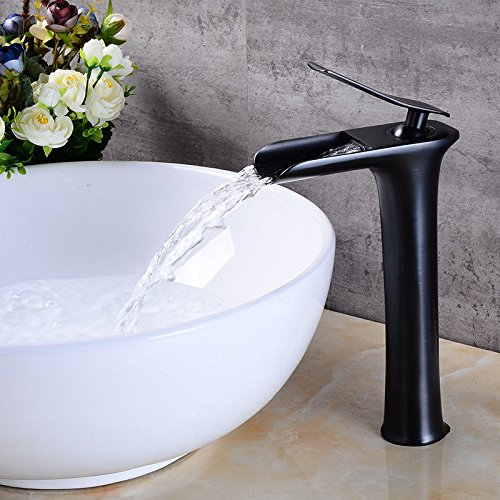 ANNTYE Waschtischarmatur Bad Mischbatterie Badarmatur Waschbecken Kupfer Einhebelsteuerung rieb Bronze Wasserfall Warmes und kaltes Wasser 1 Loch Schwarz Badezimmer Waschtischmischer