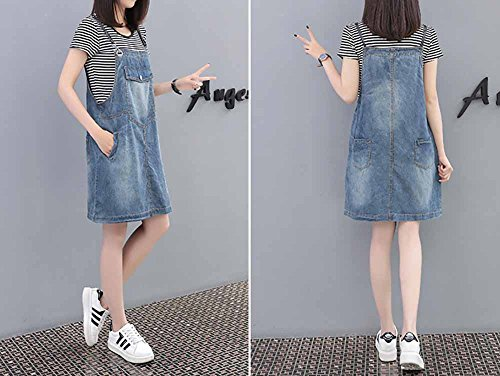 Robe avec Denim Jupe Dungaree Style Elwow Pinafore Mini Lady Jeans dlav dcontract Bleu Clair q1xwz05