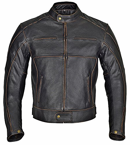 Leather Motorcycle Jackets For Men With Armor - 8