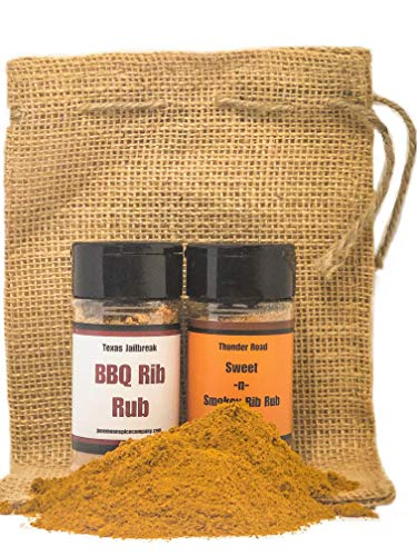 (Premium | BBQ Seasoning Dry Rub Gift Set | Vintage Burlap Gift Bag Included (2 count))