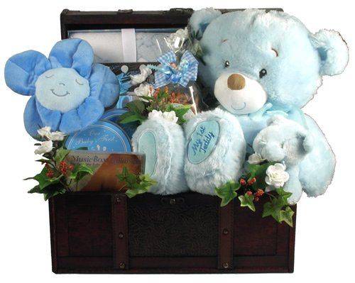 Gift Basket Village It's a Boy Deluxe Baby Set in Wooden Trunk by Gift Basket Village