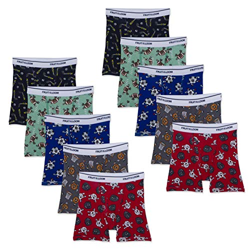 Fruit of the Loom Boys' Toddler Cotton Boxer Brief Underwear, Prints - Assorted (Pack of 10) 4T/5T