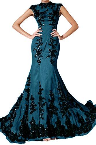 Ivydressing Damen Elegant Spitze Applikation Mermaid Lang Chiffon Festkleid Abendkleid Tintenblau n9BiwPm