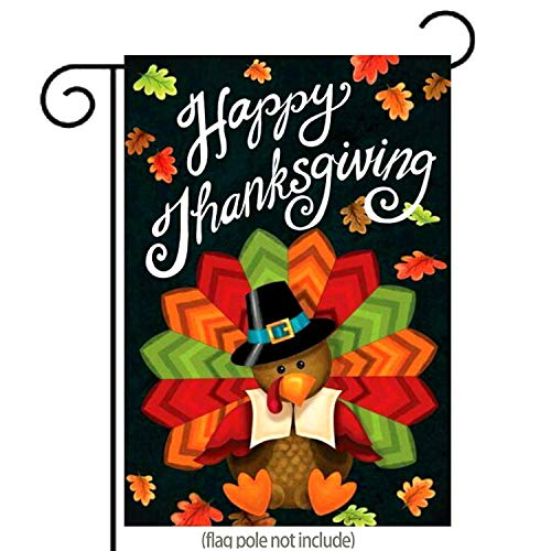 GDF Studio Happy Thanksgiving Garden Flag Cute Colorful Turkey with Autumn Leaves Double-Sided,100% All-Weather Polyester, Thanksgiving Yard Flag to Bright Up Your Garden 12.5 x 18