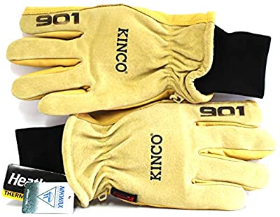 """LASERED ETCHED KINCO 901 Pigskin Leather Ski Gloves, with""""901"""" on each Fore Finger. Double Palm Patches on the Palm and All Fingers except the Little Finger."""
