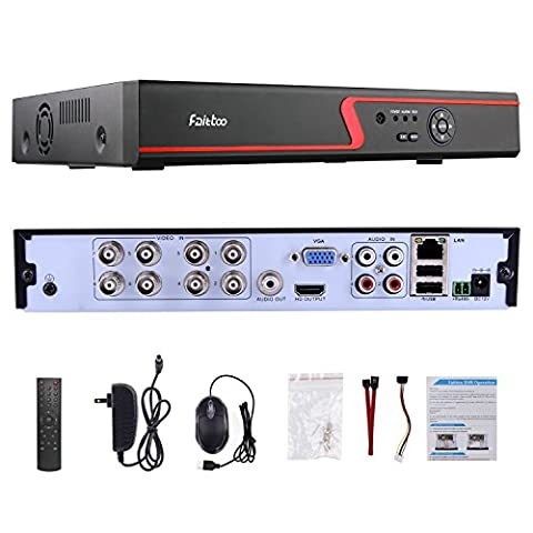 Faittoo H.264 8CH 1080N AHD DVR Hybrid AHD+HVR+TVI+CVI+NVR 5-in-1 Security Surveillance System Standalone Realtime Digital Video Recorder Motion Detection Remote Control View HDMI Output, NO - Everfocus Alarm