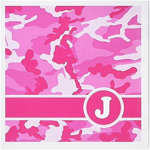 3d Rose 3dRose Cute Pink Camo Camouflage Letter J - Greet...