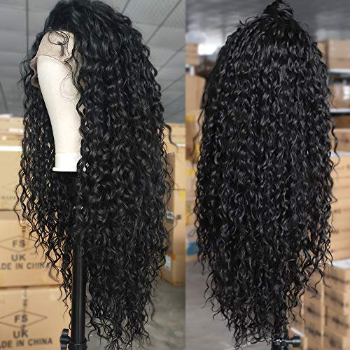 AISI QUEENS Curly Hair Wigs Long Loose Curly Wave Lace Front Wig Black Synthetic Hair Heat Resistant Fiber for Women with Baby Hair(24 Inches,1B#)