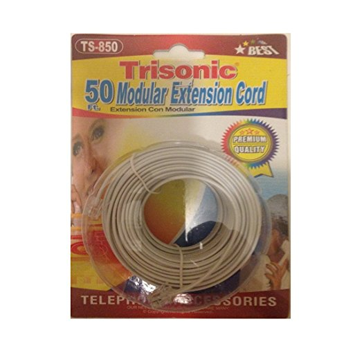 Trisonic Trisonoc50ftcbl Telephone Phone Extension Cord Cable Line Wire, 50', - Telephone 50' Cord Line