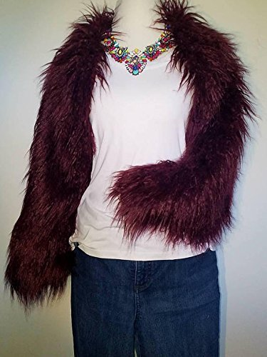 Burgundy Mongolian Lamb Faux Fur Shrug Jacket HANDMADE IN TEXAS, U.S.A. by E by Evelyn Designs