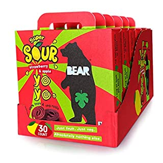 BEAR Sour - Real Fruit Yoyos - Strawberry-Apple, No added Sugar, All Natural, non GMO, Gluten Free, Vegan - Healthy on-the-go snack for kids & adults,